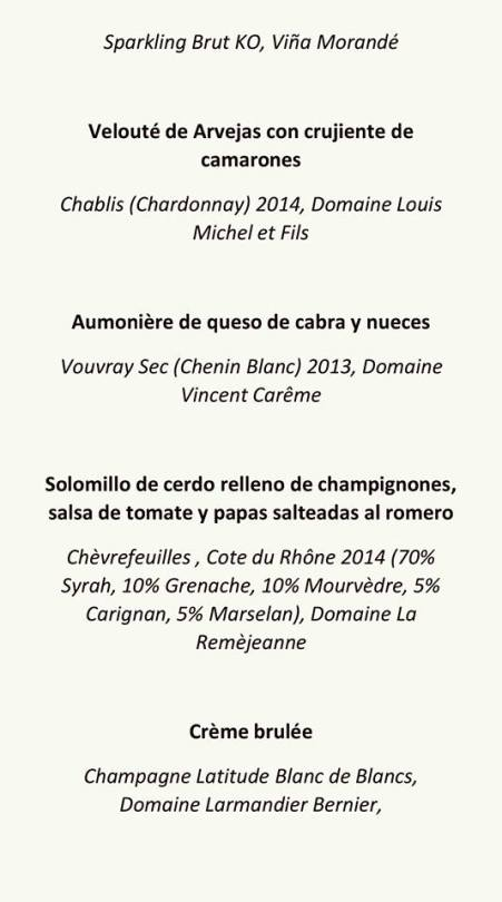 menu cena francesa 14 oct